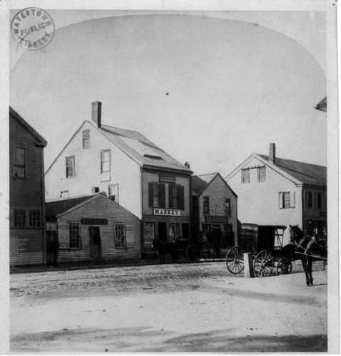 South side of Main Street near Watertown Square in 1865.