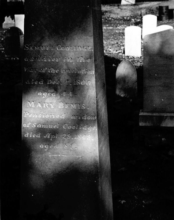 Grave marker of Samuel Coolidge (1756 - 1800), and his wife Mary Bemis (1765 - 1849).