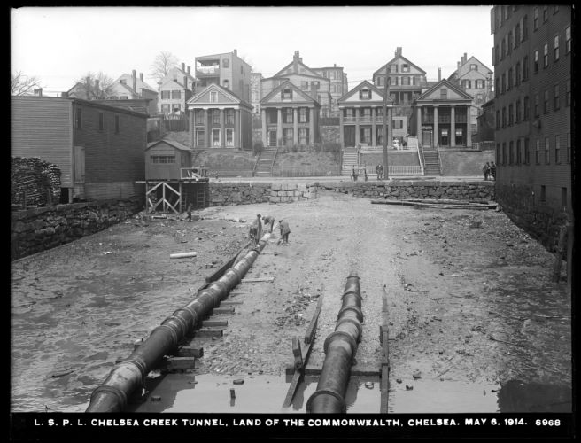 Distribution Department, Low Service Pipe Lines, Chelsea Creek Tunnel, land of the Commonwealth, Chelsea, Mass., May 6, 1914