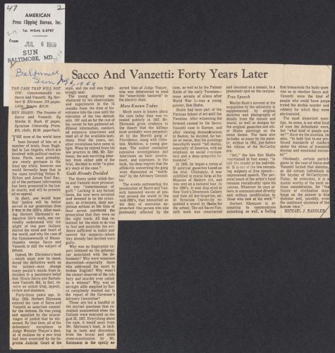 Herbert Brutus Ehrmann Papers, 1906-1970. Sacco-Vanzetti. Reviews, 1969. Box 8, Folder 19, Harvard Law School Library, Historical & Special Collections