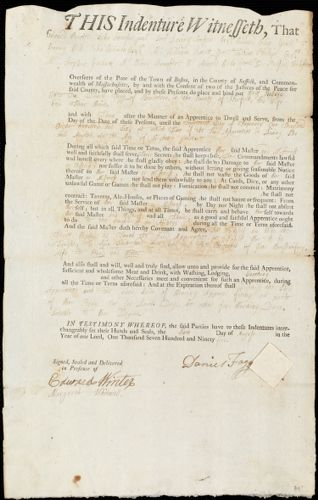 Document of indenture: Servant: Ballard, Mary. Master: Fogg, Daniel. Town of Master: Braintree
