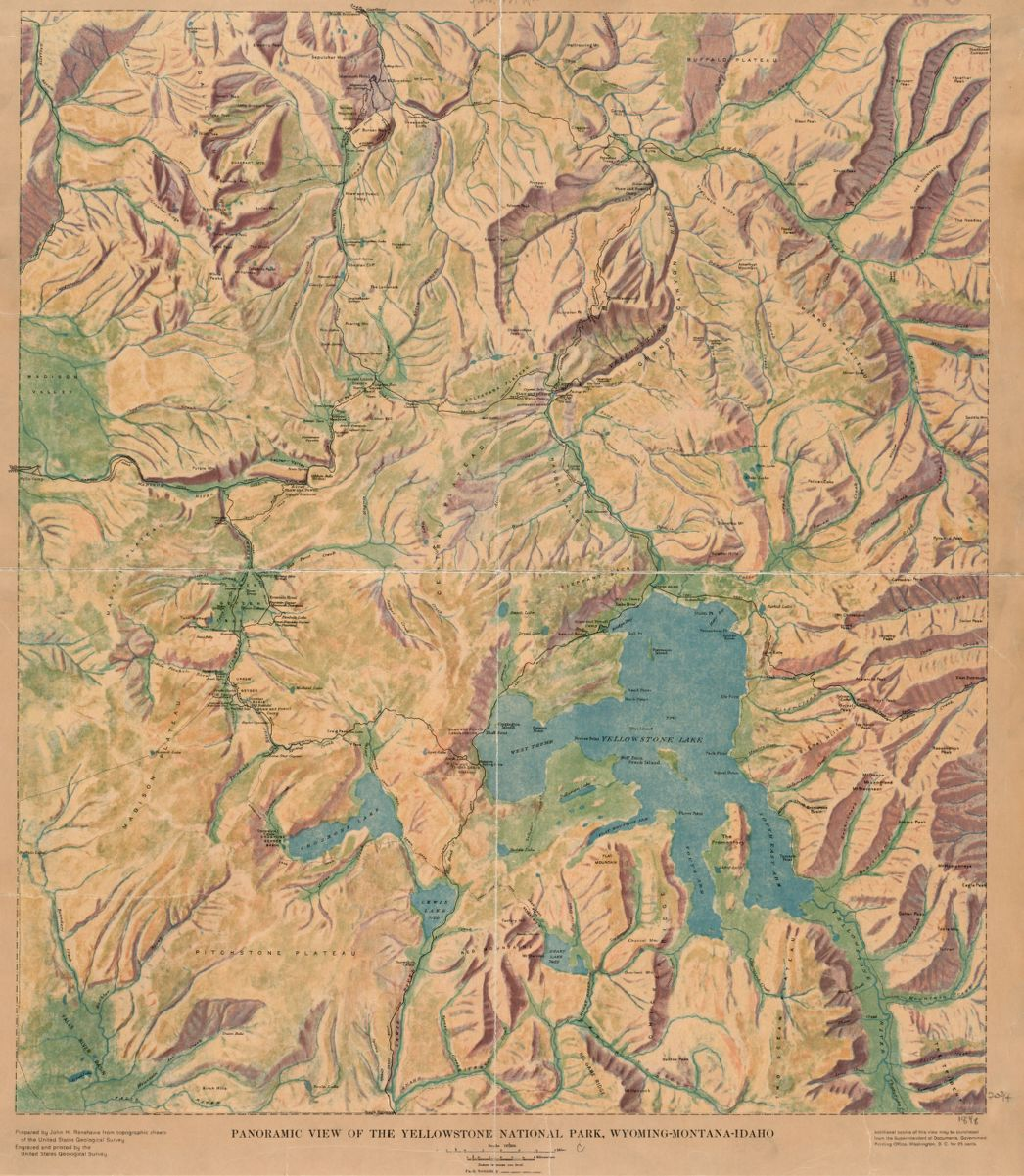 This beautiful relief map is of Yellowstone National Park in Wyoming, the nation's first established national park.