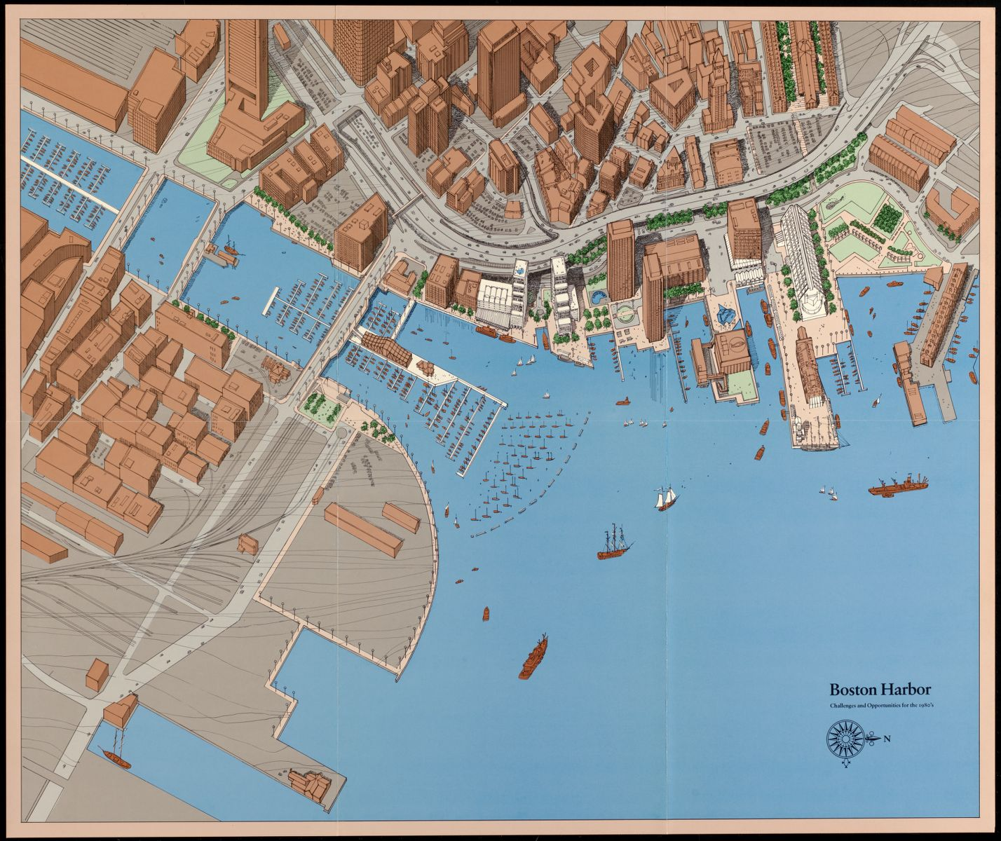 """A 1979 plan of the waterfront produced by the BRA shows """"challenges and opportunities"""""""