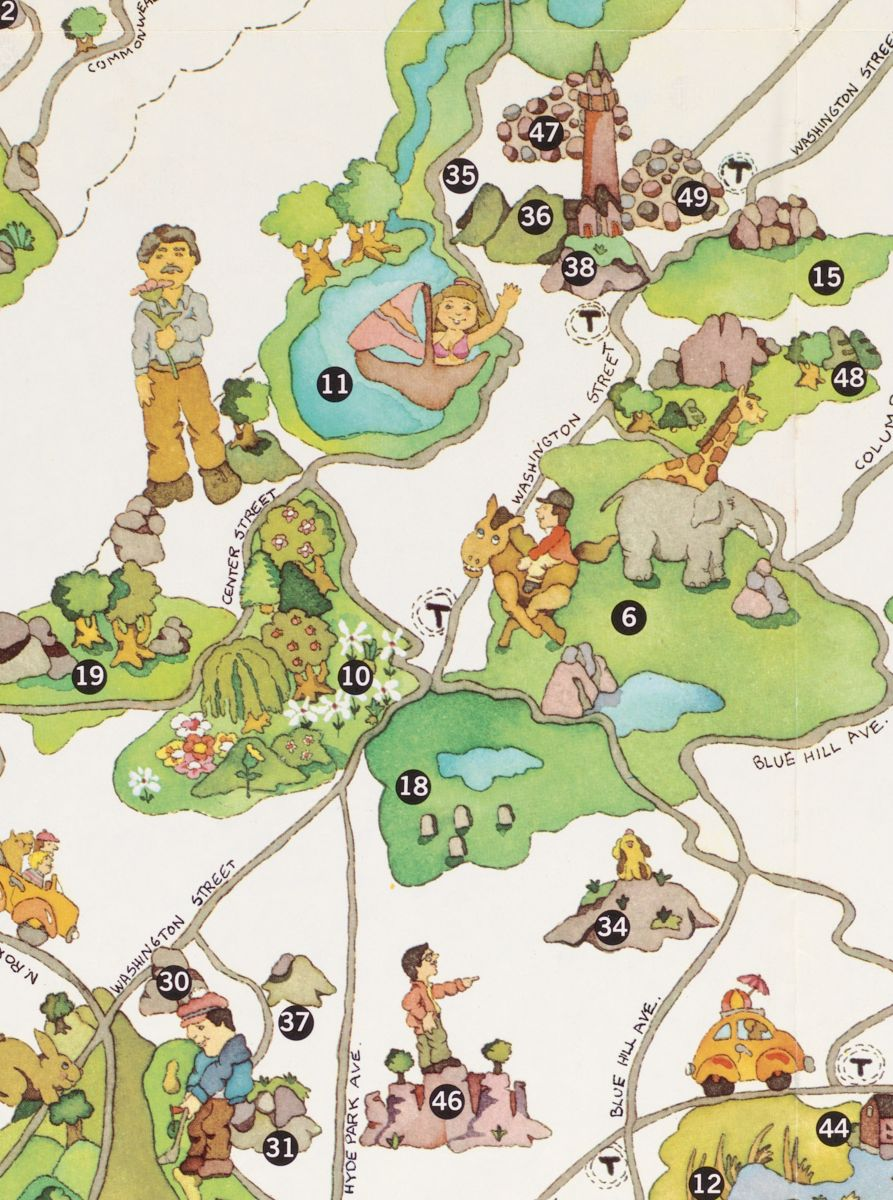 """This playful pictorial map from 1976 shows Boston's """"urban wilds"""""""