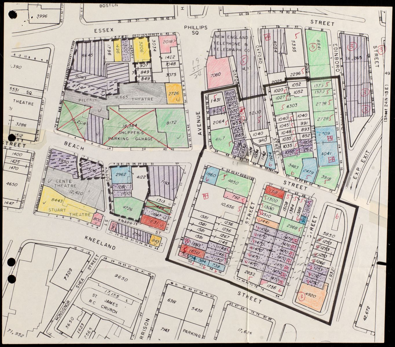 The collection includes not only published plans intended for public audiences, but also the kinds of materials that were used in the BRA's daily operations, like this study map of architectural styles in Chinatown