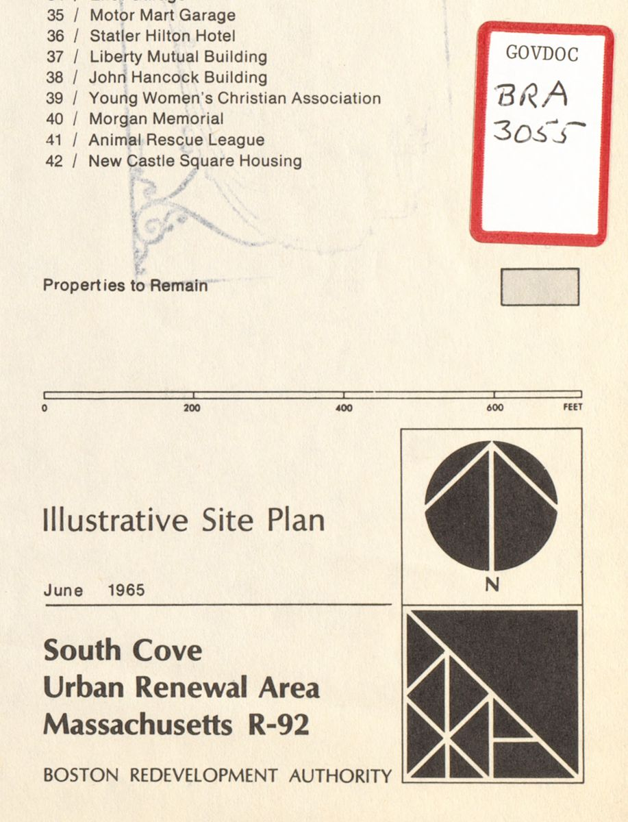 The BRA logo appears next to a Government Documents label on this excerpt from a 1965 site plan of the South Cove