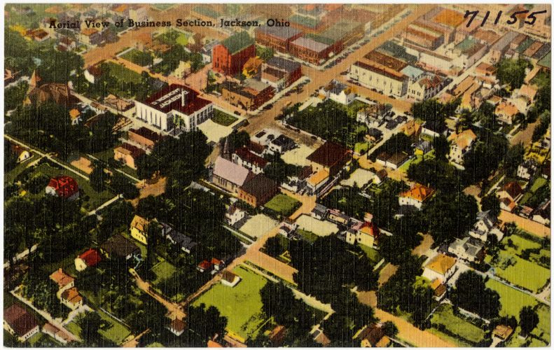Aerial view of Business section, Jackson, Ohio