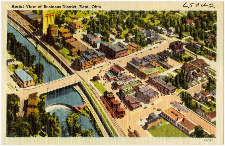 Aerial view of Business District, Kent, Ohio