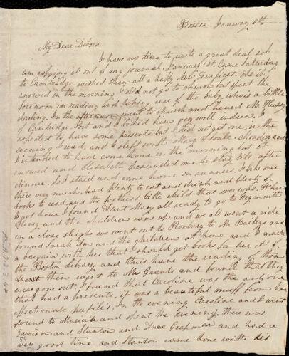 Letter from Lucia Weston, Boston, [Mass.], to Deborah Weston, January 7th, [1837]