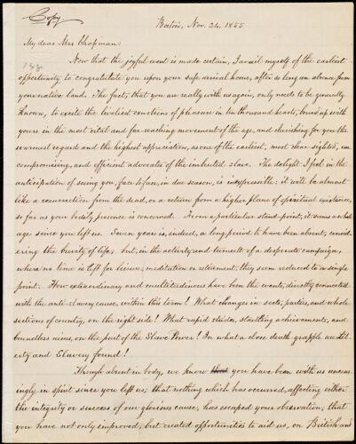 Copy of letter from William Lloyd Garrison, Boston, [Mass.], to Maria Weston Chapman, Nov. 24, 1855