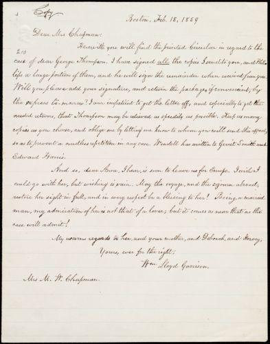 Copy of letter from William Lloyd Garrison, Boston, [Mass.], to Maria Weston Chapman, Feb. 18, 1859