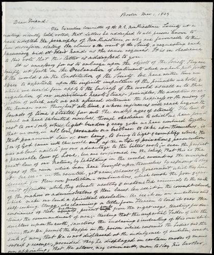 Circular letter from William Lloyd Garrison, Boston, [Mass.], to Edmund Quincy, Mar[ch] 1, 1839