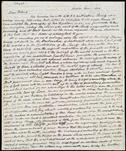 Circular letter from William Lloyd Garrison, Boston, [Mass.], to George William Benson, Mar[ch] 1, 1839