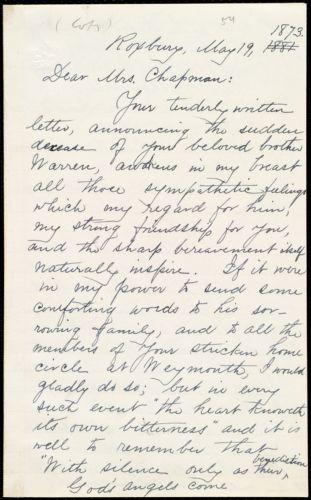 Copy of letter from William Lloyd Garrison, Roxbury, [Mass.], to Maria Weston Chapman, May 19, 1873