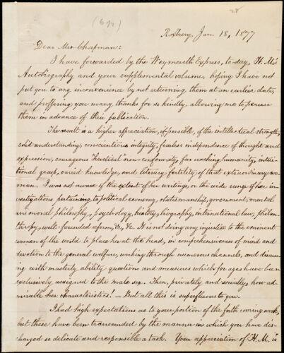 Copy of letter from William Lloyd Garrison, Roxbury, [Mass.], to Maria Weston Chapman, Jan. 18, 1877