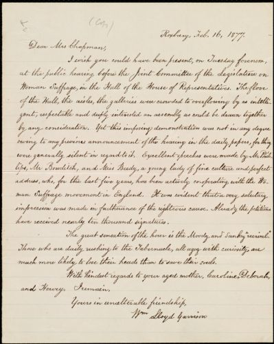 Copy of letter from William Lloyd Garrison, Roxbury, [Mass.], to Maria Weston Chapman, Feb. 16, 1877