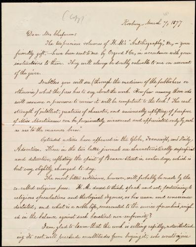 Copy of letter from William Lloyd Garrison, Roxbury, [Mass.], to Maria Weston Chapman, March 7, 1877