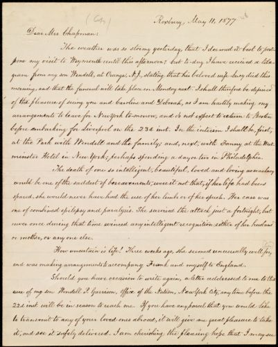 Copy of letter from William Lloyd Garrison, Roxbury, [Mass.], to Maria Weston Chapman, May 11, 1877