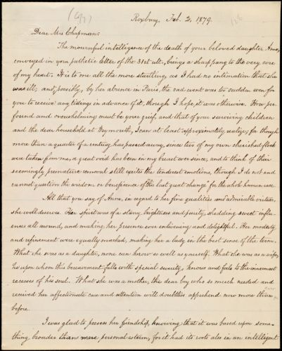 Copy of letter from William Lloyd Garrison, Roxbury, [Mass.], to Maria Weston Chapman, Feb. 2, 1879