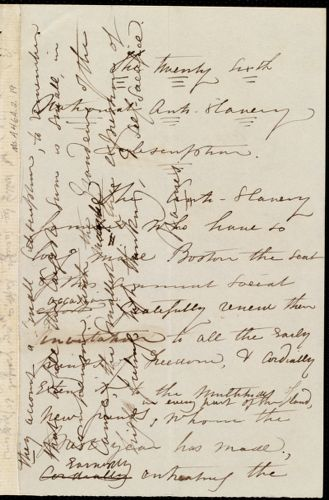 Draft of the announcement for the twenty-sixth National Anti-Slavery Subscription by Maria Weston Chapman, [Boston?, Mass.], [1859?]