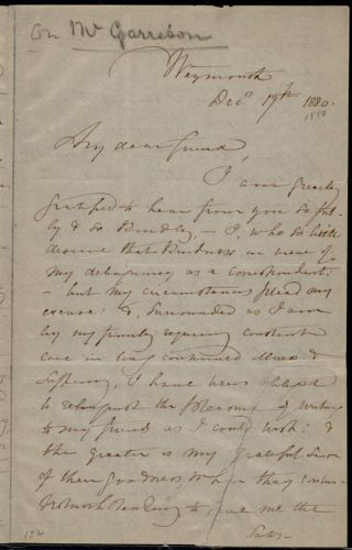 Letter from Maria Weston Chapman, Weymouth, [Mass.], to Mary Anne Estlin, Dec. 17th, 1880