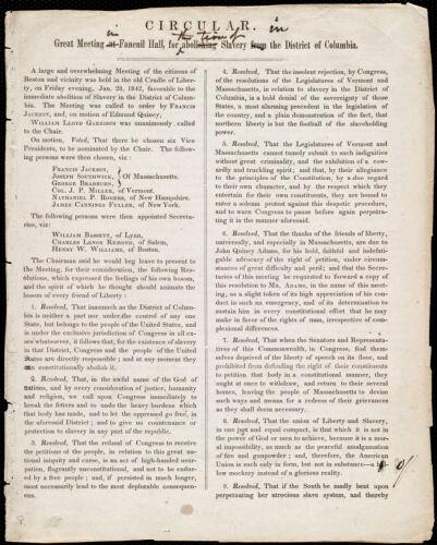 Circular from Maria Weston Chapman, [Boston, Mass.], to William Lloyd Garrison, [ca. Jan. 29,] 1842