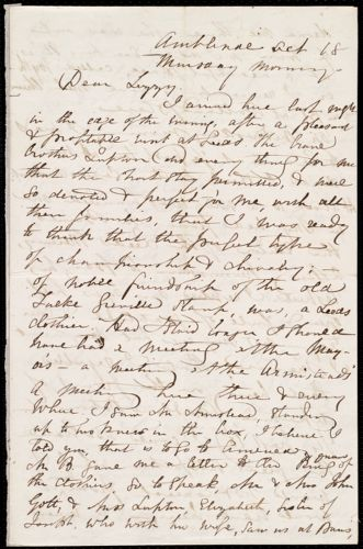 Incomplete letter from Maria Weston Chapman, Ambleside(?), [England], to Elizabeth Bates Chapman Laugel, Oct. 18, [1849?], Monday morning