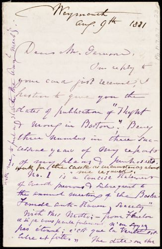 Letter from Maria Weston Chapman, Weymouth, [Mass.], to Francis Jackson Garrison, Aug. 9th, 1881