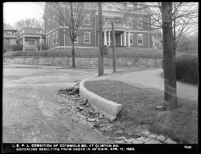 Distribution Department, Low Service Pipe Lines, condition of Cotswold Road, resulting from break in 48-inch main, Brookline, Mass., Apr. 17, 1920
