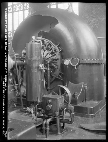 Wachusett Department, Wachusett Dam Hydroelectric Power Plant, break in turbine No. 4, close view of turbine No. 4, Clinton, Mass., May 3, 1920