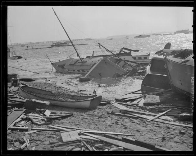 Boats blown ashore, Hurricane of 38