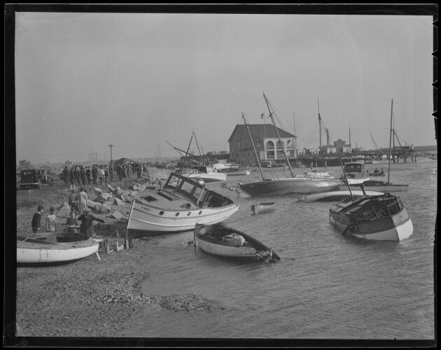 Boats ashore at Savin Hill Yacht Club, Dorchester, Hurricane of 38