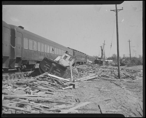 Boats blown onto railroad tracks, Hurricane of 38
