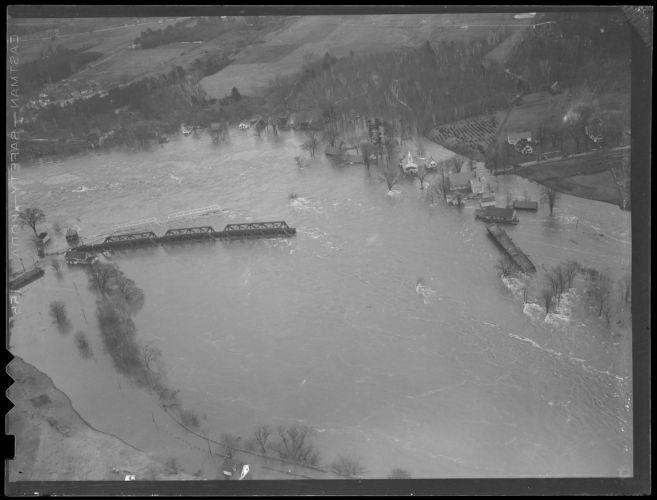 Bridge washed out by flood, Hurricane of 38