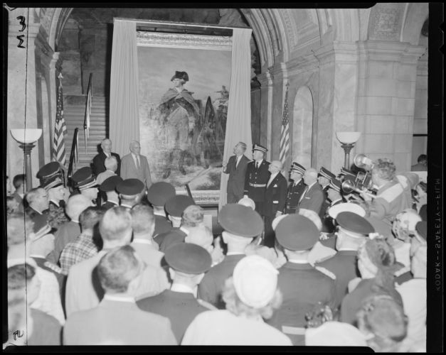 Unveiling the Washington portrait at the Boston Public Library