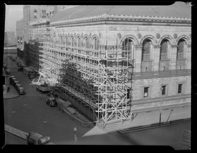 Scaffolding on Blagden St. side of Boston Public Library