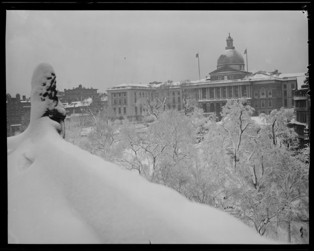 Snow covered Boston, State House