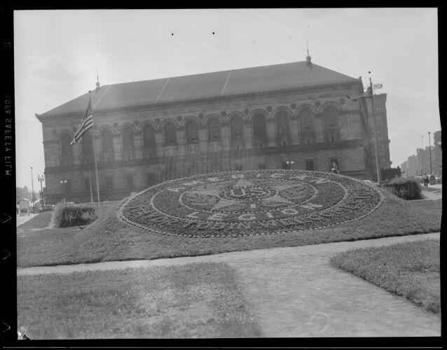 American Legion flag in front of Boston Public Library
