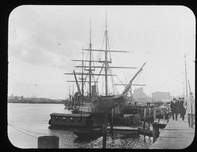 Ship at Charlestown Navy Yard. About 1900