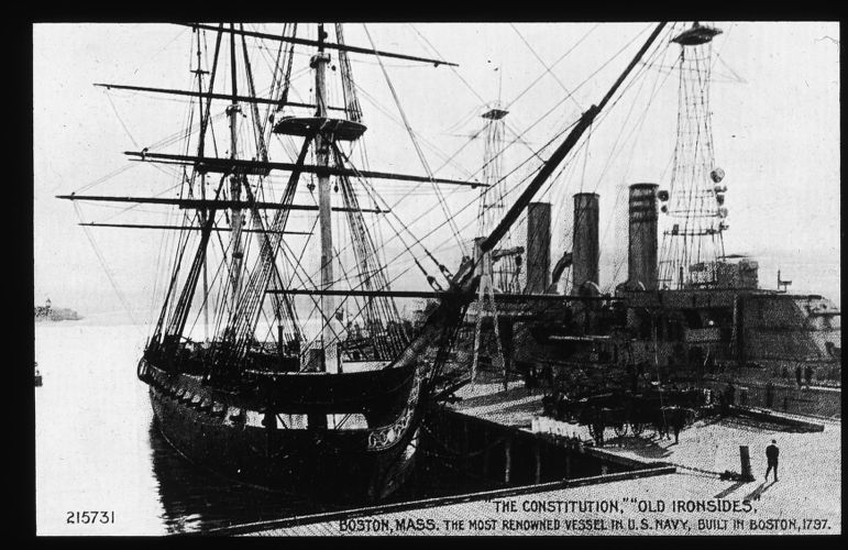 """""""Old Ironsides"""" with all her spars set and not covered"""
