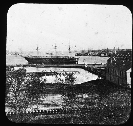 View of the U.S.S. Wabash, the training ship in the Charlestown Navy Yard, used 1876-1912