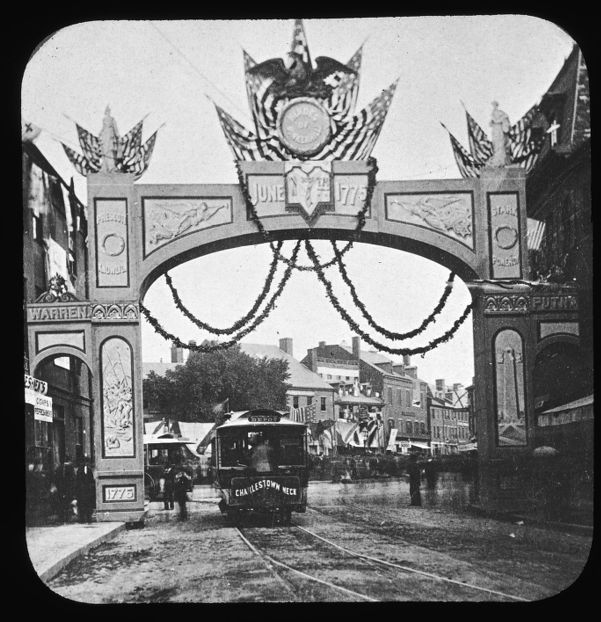 Triumphal arch at Charles River Ave. for centennial celebration June 17, 1875