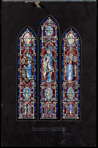 Design for aisle window second from the chancel on north, Second Congregational Church, Holyoke, Massachusetts