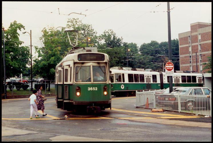 E line trolley at S. Huntington & Heath Street, Jamaica Plain