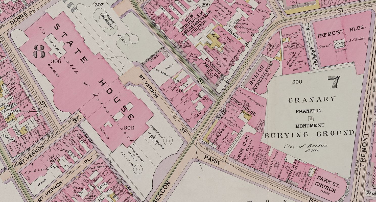 This 1898 Bromley atlas, showing the State House in downtown Boston, is available as an Atlascope view