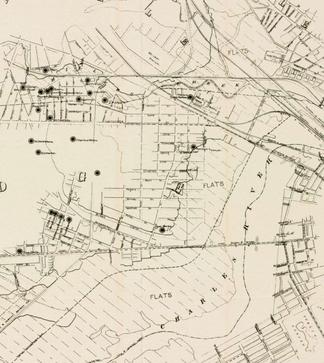 This 1873 plan shows how much of Cambridge and Somerville also lies on fill, though the tax parcels of these cities weren't included in this analysis
