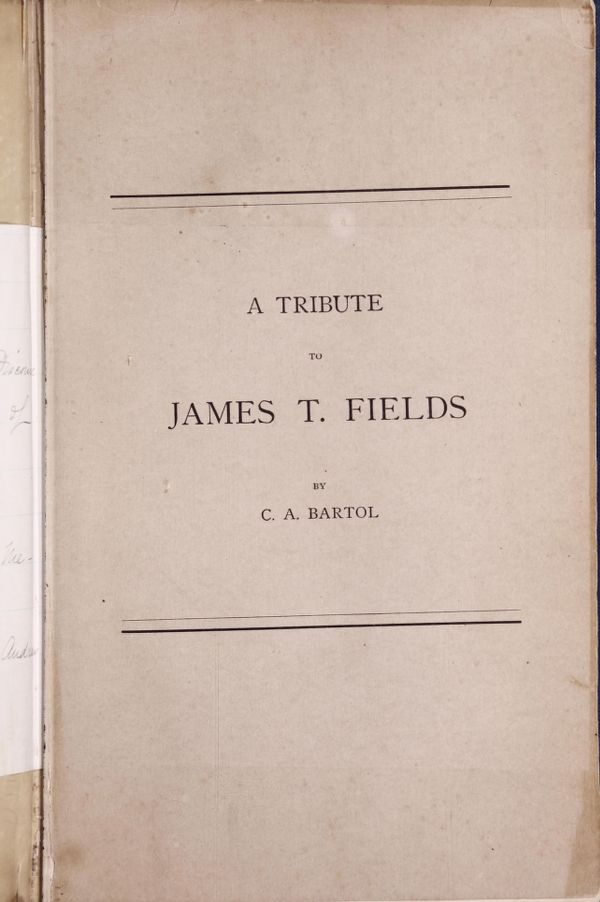 Biographical pamphlets - [Elijah Fuller Woodward, Reverend J. Lewis Diman, John Albion Andrew and James T. Field] -