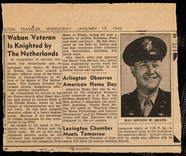 Major Milton W. Heath of Waban knighted by the Netherlands
