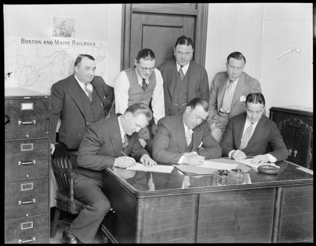 Fighters sign. L-R: Ernie Schaaf / Jack Sharkey / Jim Maloney
