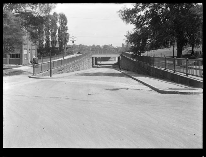 Sudbury Department, Sudbury Aqueduct, near Echo Bridge, Chestnut Street looking towards Boylston Street Bridge, Newton, Mass., Jul. 1, 1920